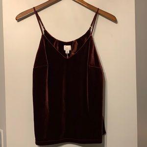 Burgundy velvet camisole